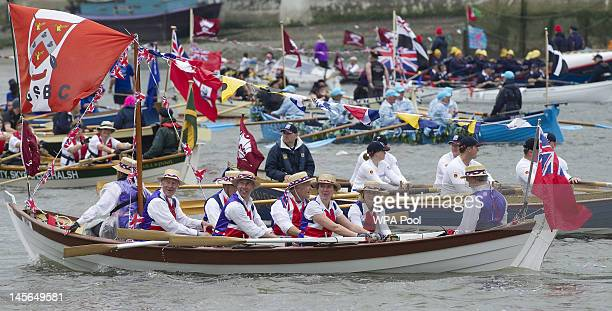 The Flotilla during The Jubilee River Pageant to celebrate Queen Elizabeth's Diamond Jubilee on June 3 2012 in London England For only the second...