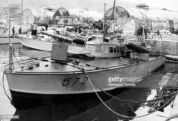 The flotilla of Italian Navy motor torpedo boats moored in the Yalta base Yalta June 1942