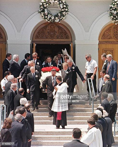The flowerdraped casket of legendary entertainer Frank Sinatra is carried out of the Good Sheperd Catholic Church in Beverly Hills 20 May The casket...