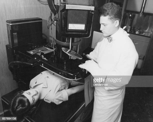 The Fluorex imageamplifier shown above given technicians an xray image 200times brighter when attached to a regular fluoroscope This new equipment is...