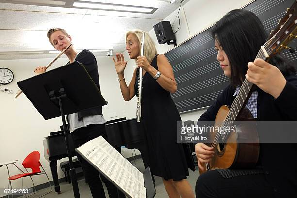 The flutist Carol Wincenc teaching the chamber music class at the Juilliard School on Wednesday afternoon September 16 2015