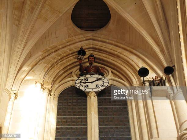 The Flycatcher, a watch with an popular automaton that marks the hours with bells inside the Cathedral of Burgos, UNESCO World Heritage Site, Castile...