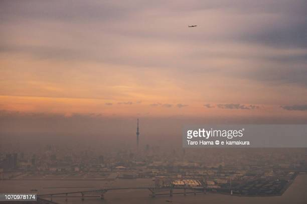 The flying airplane, Tokyo Sky Tree and Tokyo Gate Bridge in Japan sunset time aerial view from airplane