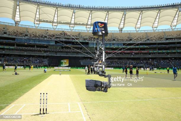 The Flying Fox camera films the wicket area before game one of the One Day International series between Australia and South Africa at Optus Stadium...
