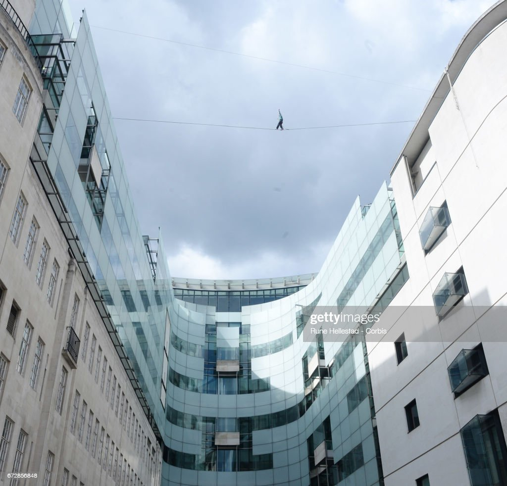 The Flying Frenchies, stars of 'The Free Man' rehearse their highline walk stunt at BBC Broadcasting House on April 25, 2017 in London, England.