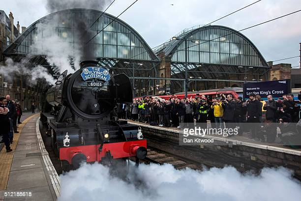 The Flying Scotsman leaves Kings Cross Station on February 25 2016 in London England The Flying Scotsman built in 1923 left King's Cross Station for...