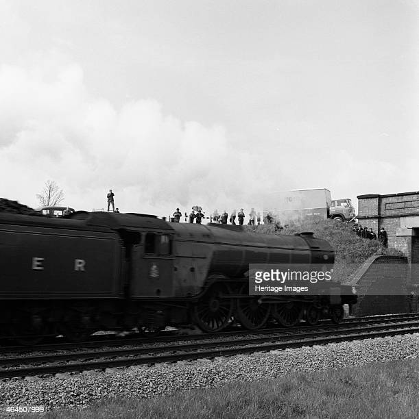 The 'Flying Scotsman' passing under a bridge at speed near Selby North Yorkshire 1968 The 'Flying Scotsman' seen passing under a bridge on the A19...