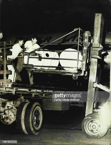 The Flying Tiger Service tonight landed with a dangerous cargo of a Petrol additive ***** Toxix from England November 22 1963