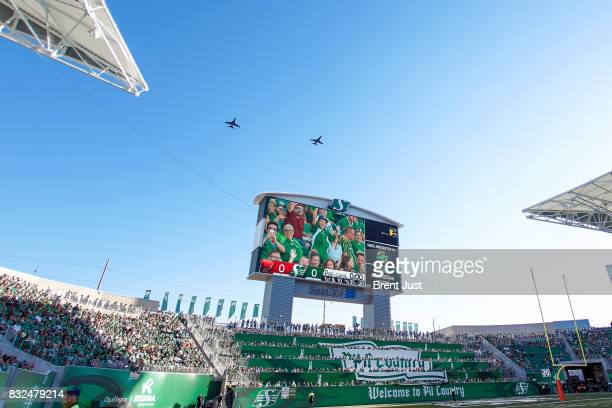 The flyover just before kickoff of the game between the BC Lions and the Saskatchewan Roughriders at Mosaic Stadium on August 13 2017 in Regina Canada