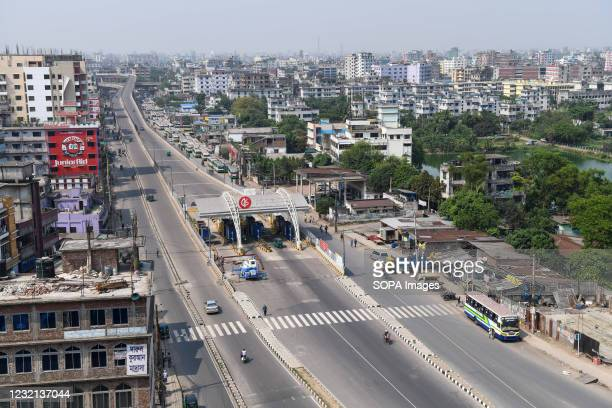 The flyovers of the capital seen empty at Keraniganj, Dhaka during the government-imposed lockdown as a preventive measure against the COVID-19...