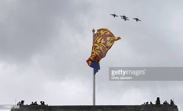 The flypast over Buckingham Palace during the annual Trooping the Colour Ceremony on June 15 2013 in London England Today's ceremony which marks the...