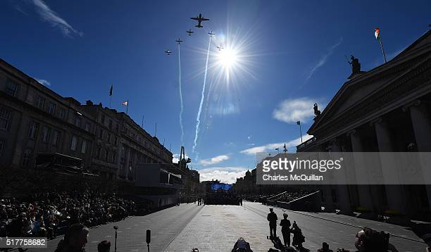 The flypast takes place during the 1916 Easter Rising commemoration parade marking the 100th anniversary at the General Post Office building on March...