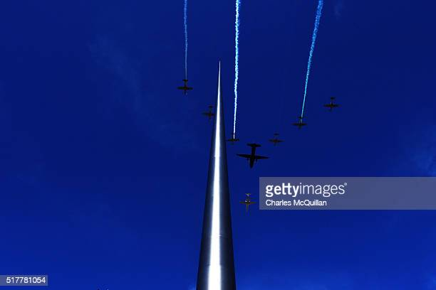 The flypast takes place over the monument of light during the 1916 Easter Rising commemoration parade marking the 100th anniversary at the General...