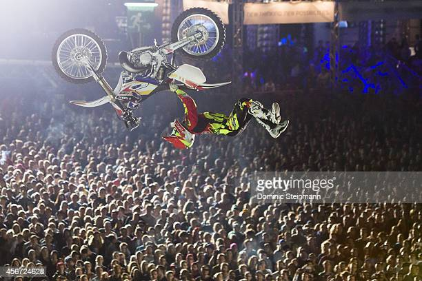 The FMX rider Maikel Melero of Spain during the Crossover Session at freestylech Zurich on September 27 2014 in Zurich Switzerland