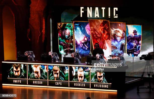 The Fnatic's team competes the video game 'League of Legends' during the Mid Season Invitational League of Legendsat the Zenith on May 18 2018 in...
