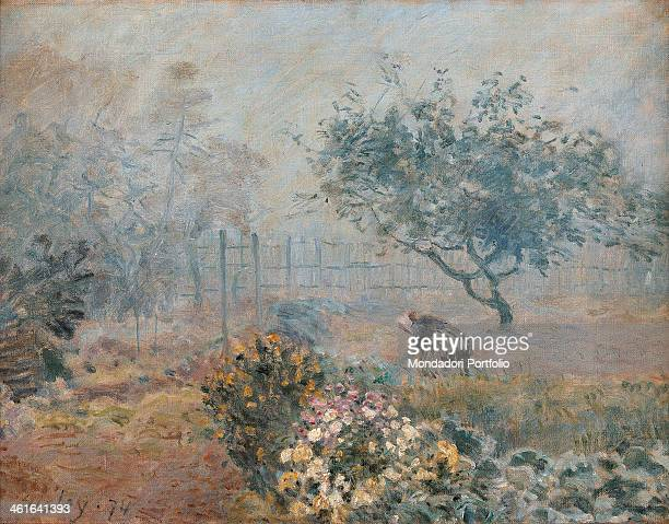 The Fog Voisins by Alfred Sisley 19th Century oil on canvas France Paris Musée d'Orsay Whole artwork view A woman bending over in a luxuriant garden...