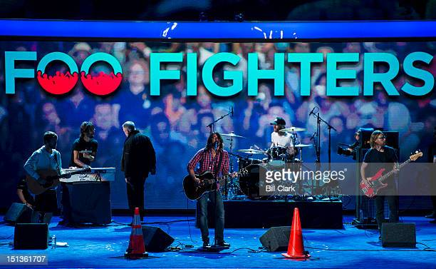 The Foo Fighters do their sound check in preparation for their performance at the Democratic National Convention at Time Warner Cable Arena in...