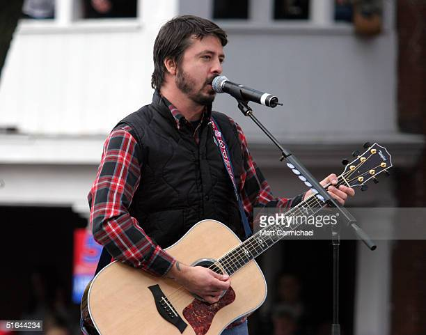 The Foo Fighters perform at a rally for Presidential candidate Senator John Kerry October 28 2004 in Madison Wisconsin