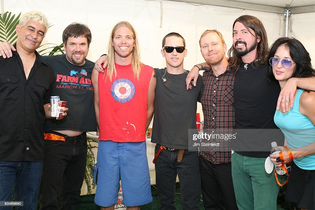 The Foo Fighters pose for a portrait backstage at the Tubes, Foo Fighters, ZZ Top concert for the 25th Anniversary Love Ride (the world's largest 1 day motorcycle fundraiser.) Held at the Fairplex in Pomona, California on October 26, 2008.