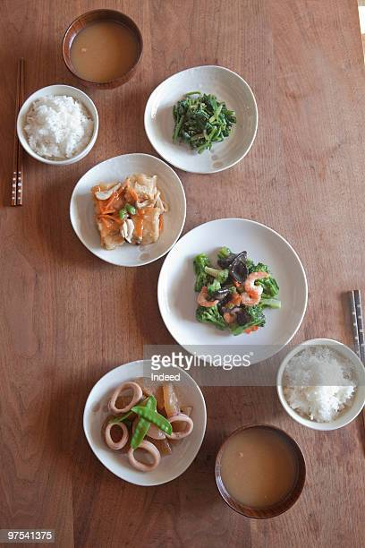 The food on Japanese table, high angle view