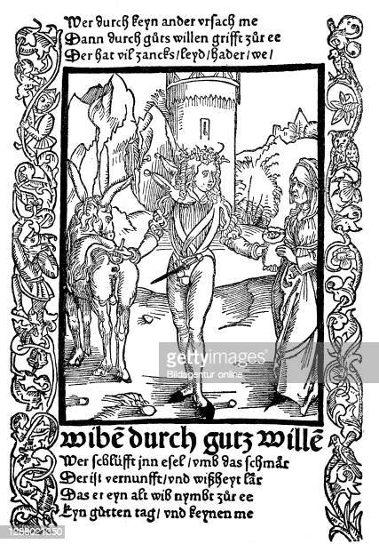 The fool who takes to the money's sake an ugly old woman, from the Ship of Fools by Sebastian Brant, 1494 / Der Narr, der um des Gelder willen ein...
