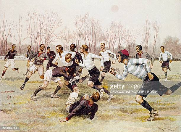 The Foot Ball Championship match at the Parc de Saint Cloud Sports calendar February illustration by Georges Bertin Scott France 20th century Paris...