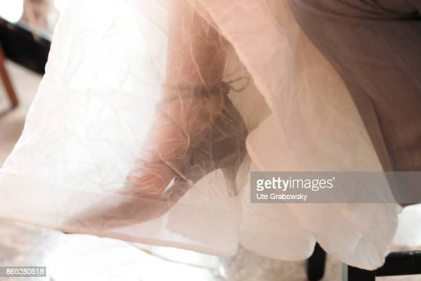 The foot of a bride shines through a tulle dress on July 15 2017 in Berlin Germany