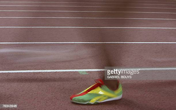 The foot of an athlete is pictured during the men's 10000m final 27 August 2007 at the 11th IAAF World Athletics Championships in Osaka Ethiopia's...