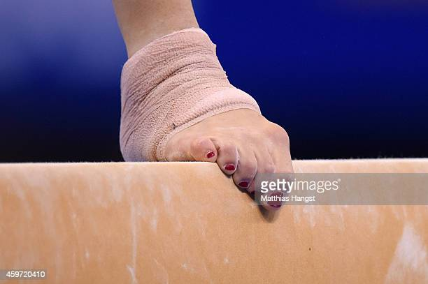 The foot of Vanessa Ferrari of Italy seen during her balance beam routine in the Women's AllAround Competition during the EnBW Gymnastics Worldcup...