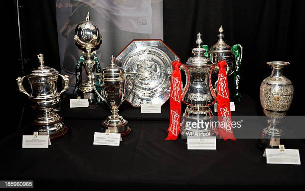 The Football Association's trophies FA Women's Cup FA Trophy FA Youth Cup FA Community Shield FA Cup FA Vase and FA Sunday Cup are displayed at the...