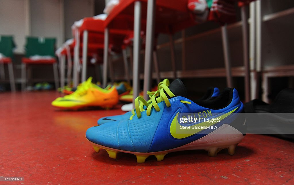 The football boots Bernando Hernandez of Mexico in the Mexico dressing room before the FIFA U20 World Cup Group D match between Mali and Mexico at Kamil Ocak Stadium on June 28, 2013 in Gaziantep, Turkey.