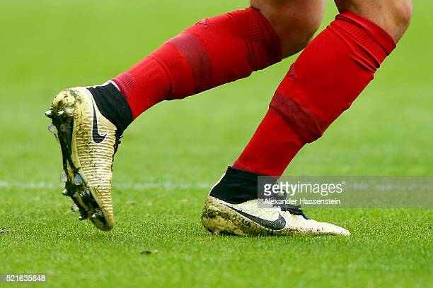 The football boots of Mario Goetze of Muenchen during the Bundesliga match between FC Bayern Muenchen and FC Schalke 04 at Allianz Arena on April 16...