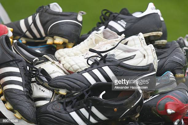 The football boots of players of Bayern Muenchen are seen after a training session at day two of the FC Bayern Muenchen training camp on July 17 2009...