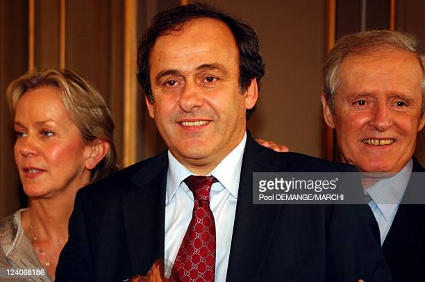 The football club of AS Nancy Lorraine celebtrate their 40 years In Nancy France On November 03 2007 Chrsitelle Platini Michel Platini Aldo Platini...