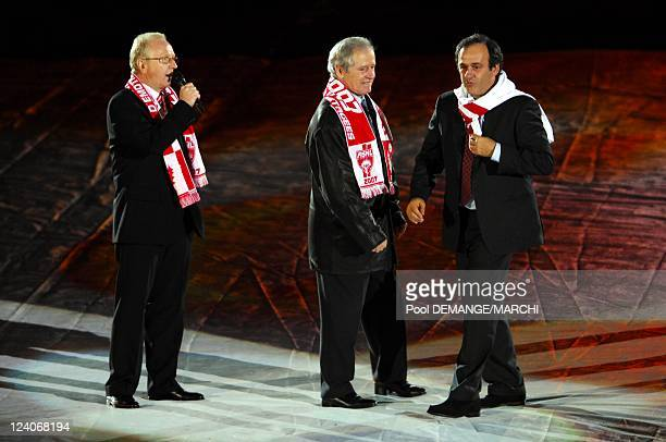 The football club of AS Nancy Lorraine celebtrate their 40 years In Nancy France On November 03 2007 Jacques Rousselot Aldo Platini and Michel...