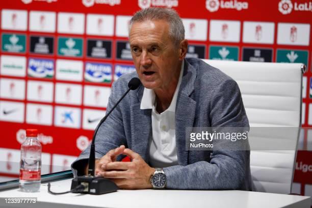 The football director of Granada, Pep Boada, during the presentation of the new signing Carlos Bacca of Granada CF at the Nuevo Los Carmenes stadium...