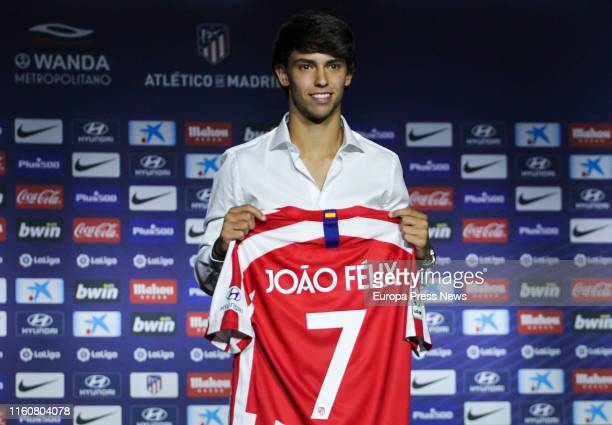 The football player Joao Felix is seen at his presentation as new Atletico de Madrid player at Wanda Metropolitano on July 08 2019 in Madrid Spain