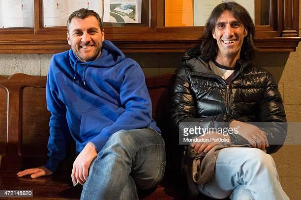 'The football players Bobo Vieri and Marco Delvecchio shooting the new show for Sky Uno Bobo e Marco i re del ballo at Poliorama Theatre Spain...