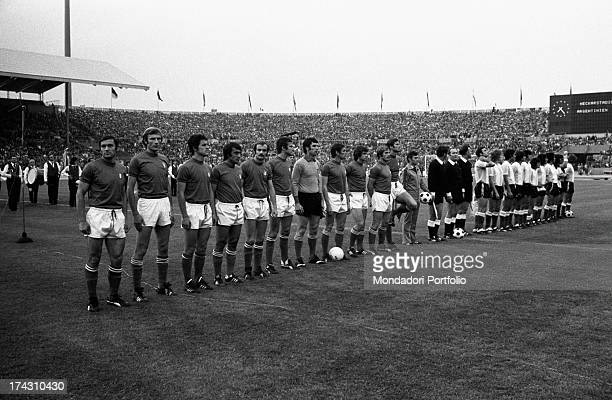 The football players of the Italian national team Giacinto Facchetti Romeo Benetti Gianni Rivera Dino Zoff Luciano Spinosi Sandro Mazzola Tarcisio...