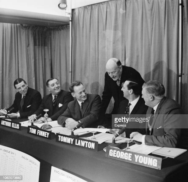 The Football Pools Panel, UK, 28th January 1963: English soccer player and manager Ted Drake , English referee Arthur Edward Ellis , English soccer...