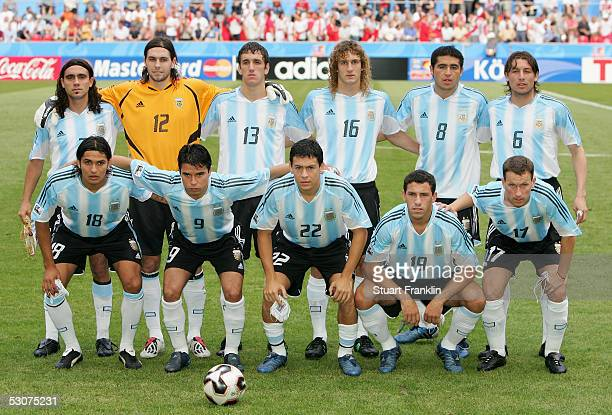 The football team from Argentina before The FIFA Confederations Cup Match between Argentina and Tunisia at The Rhein Energy Stadium on June 15 2005...