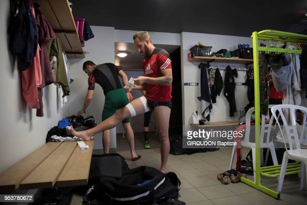 The football team Les Herbiers in the final of the cup of France 2018 are photographed for Paris Match with their Coach Stephane Msala on april 22,...