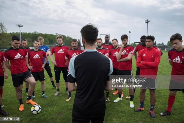 The football team Les Herbiers in the final of the cup of France 2018 are photographed for Paris Match with their Coach Stephane Msala on april 22...