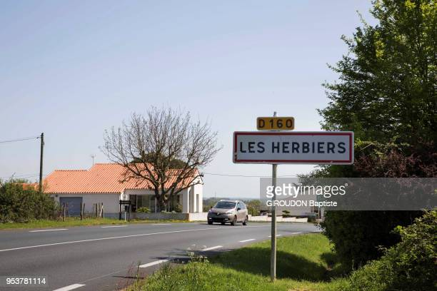 The football team Les Herbiers in the final of the cup of France 2018 The entrance sign of the city of 16300 inhabitants is photographed for Paris...