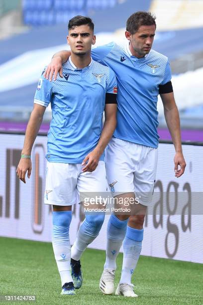 The Footballer of Lazio Andreas Pereira and Senad Lulic during the match Lazio-Spezia at the stadio Olimpico. Rome , April 03rd, 2021