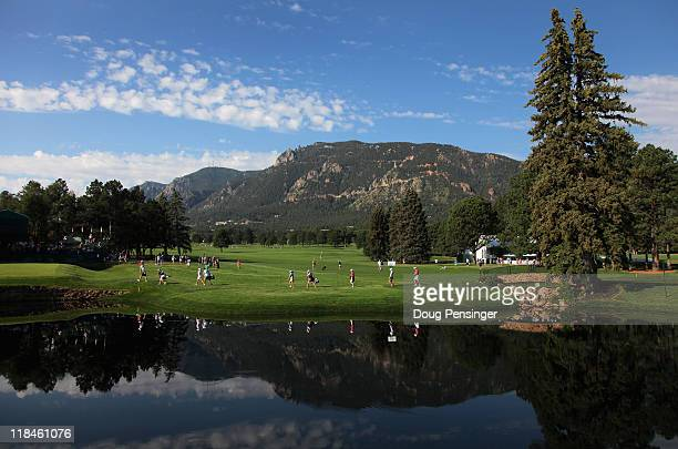 The foothills of the Rocky Mountains are the backdrop as players take to the course for the first round of the US Women's Open at The Broadmoor on...