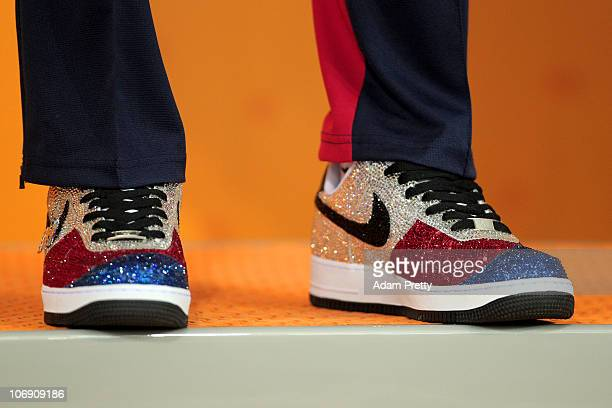 The footwear belonging to Taehwan Park of South Korea as he waits to receive the gold medal won in the Men's 400m Freestyle final at the Aoti...