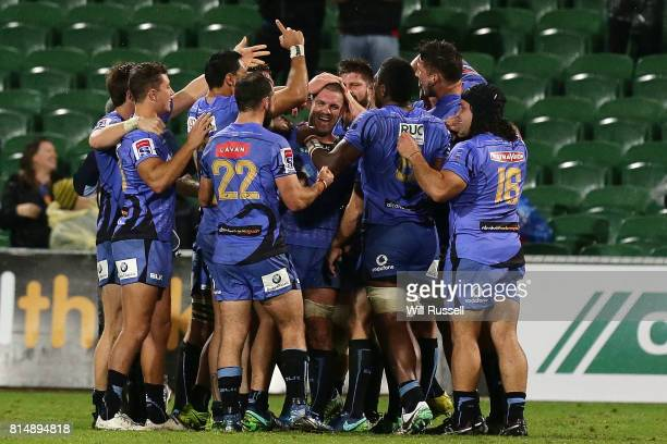 The Force celebrate after defeating the Waratahs during the round 17 Super Rugby match between the Force and the Waratahs at nib Stadium on July 15...