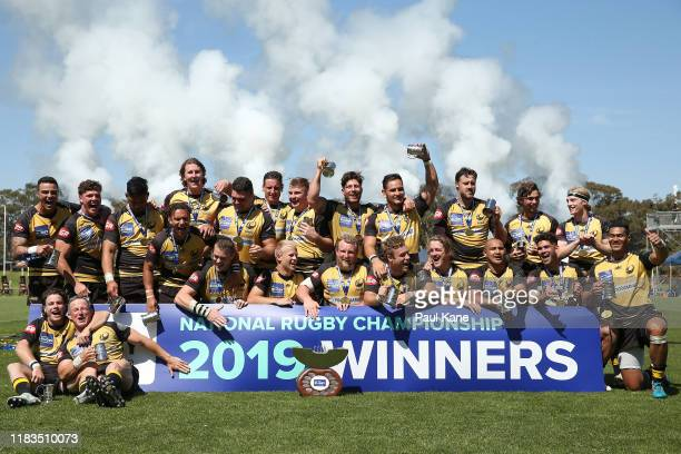 The Force celebrate after winning the NRC Final between the Western Force and Canberra Vikings at the University of Western Australia Sports Park on...
