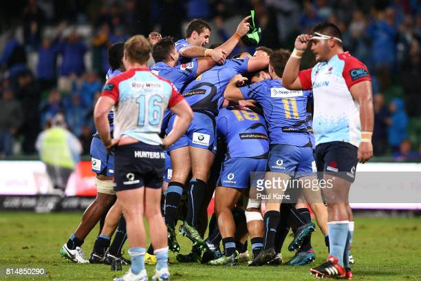 The Force celebrate winning the round 17 Super Rugby match between the Force and the Waratahs at nib Stadium on July 15 2017 in Perth Australia